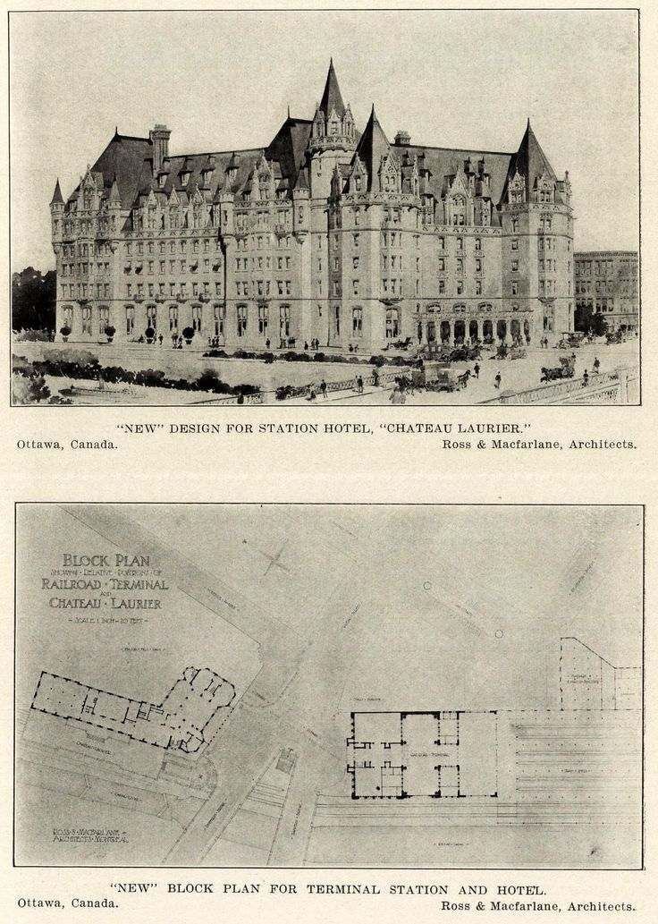 The design and block plan for the Chateau Laurier Hotel, Ottawa