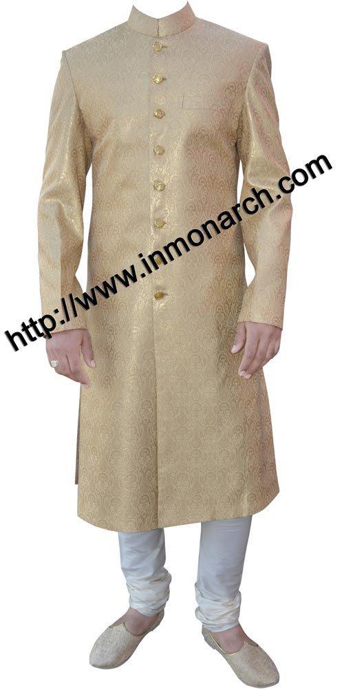 INMONARCH Mens Luxurious Brocade Golden Sherwani by INMONARCH, $300.00
