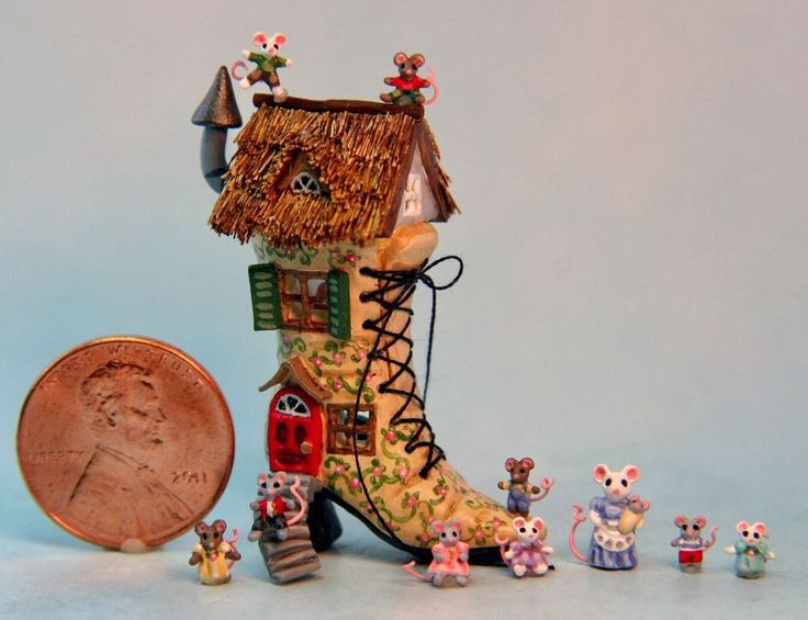 OOAK Miniature Dollhouse Victorian Shoehouse Storybook Mice Mouse House H. Allen  | eBay