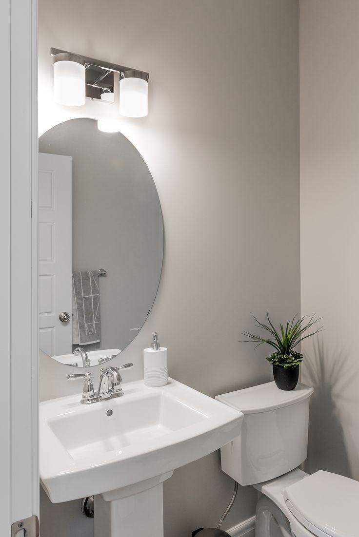 This half bathroom gets the job done.