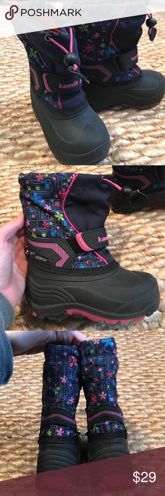 EUC Girls flower Kamik winter boots These waterproof boots are the best winter boots to keep those little feet warm. These pair are black, navy and pink with a multi colored floral pattern on the shaft. The best winter book for kiddos. The style is called Sleet 2 for reference. Kamik Shoes Rain & Snow Boots