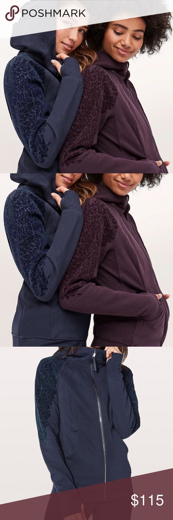 Lululemon Scuba Hoodie with Floral Flock Brand new in Midnight Navy! I have this scuba in every color and have two navy ones which is why I am selling this one!! This style and size is sold out everywhere! Comfort meets craftsmanship in this special edition of our Scuba Hoodie. It has the same cozy warmth that you know and love, with a velvety floral detail down the arms for a little added flair. lululemon athletica Jackets & Coats