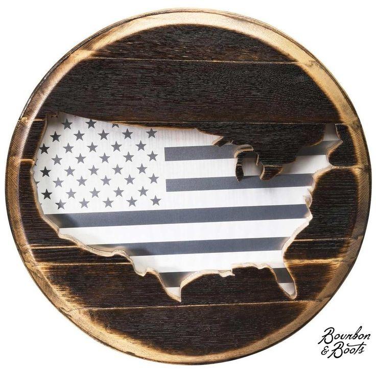 Patriot Limited Edition Reclaimed  Barrel Head USA Flag image