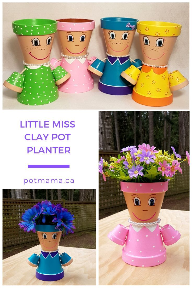 Little Miss Clay Pot People Terracotta Planter Clay Pot People Clay Pots Clay Flower Pots