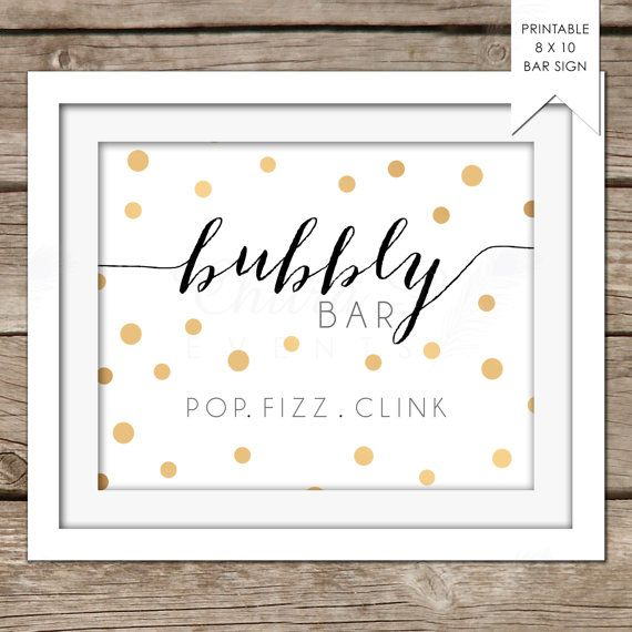 8x10 Pop, Fizz, Clink Sign - DIY, Printable, Instant Download, Bubbly Bar, Ready to pop, Bridal, Champagne Bar, Black, Gold - chitrap.com