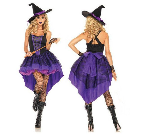 Halloween Witch Costume For Women Sexy Fashion Swallow Tail Braces Dress With Black Witch Hat Carnival Party Costume CO65182204