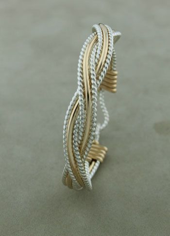 Large Gauge Gold Filled Sterling Silver 6 wire braided bracelet, Wire Wrapped Jewelry Handmade on Etsy, $160.00
