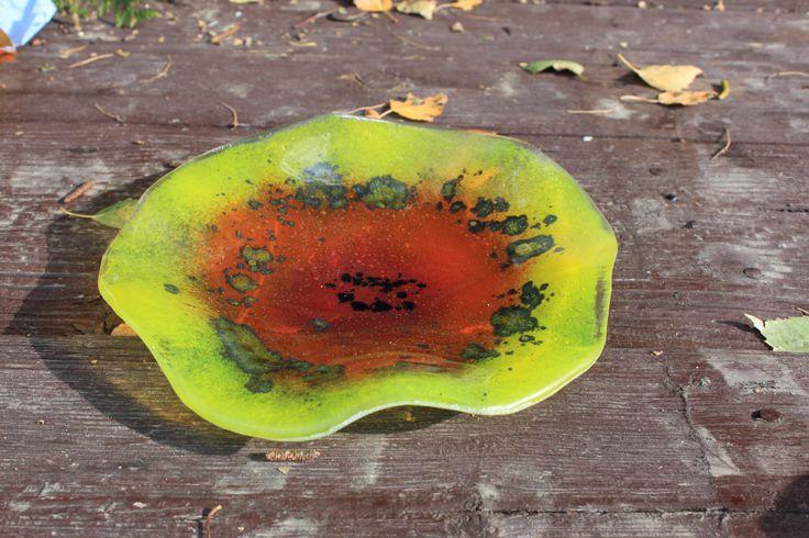 fused glass flower plate by kkarpinska on Etsy