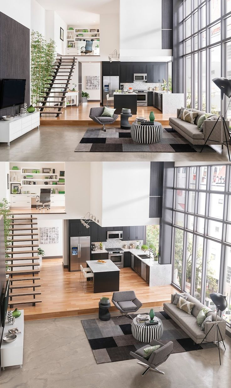 Stylish Open Floor Plan Maximizing Black White Color Scheme With Some Tons Of Brown