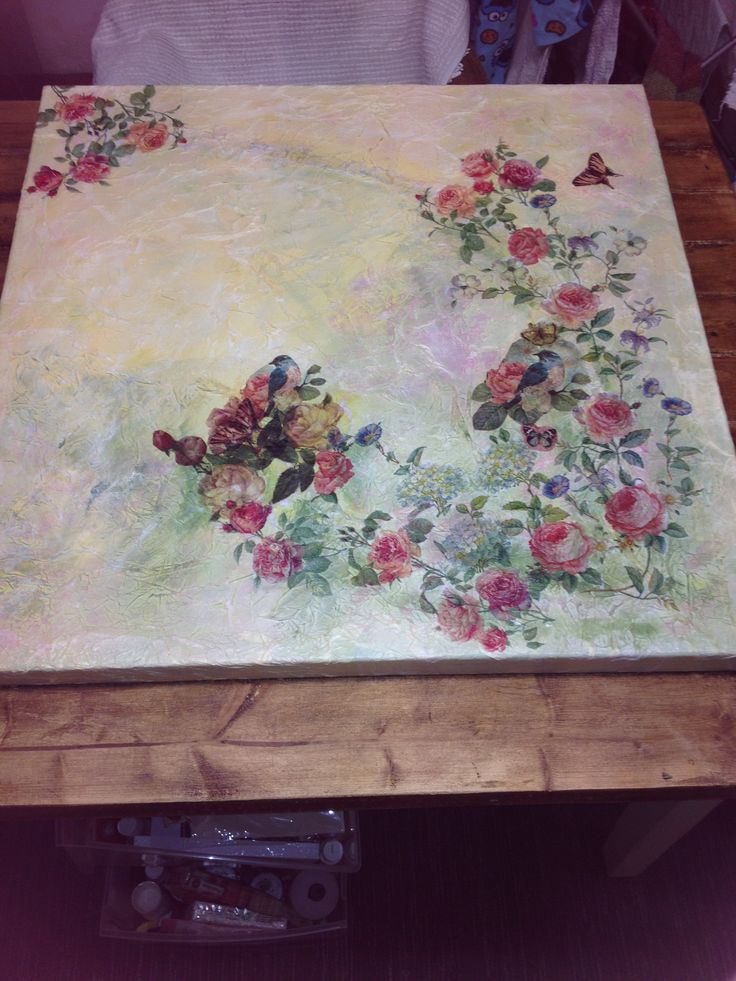 Mixed media large canvas 'Rosy dreams'