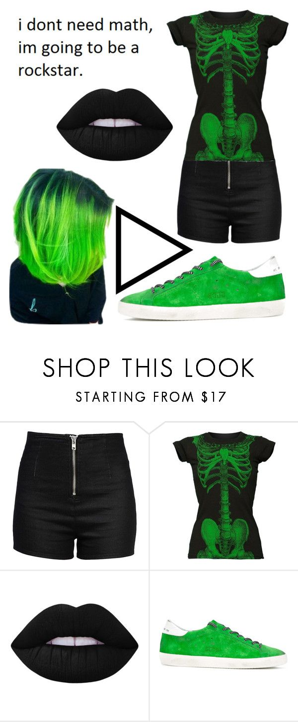 """""""no more math"""" by corryneclipse ❤ liked on Polyvore featuring Love Moschino, Kreepsville 666, Lime Crime and Golden Goose"""