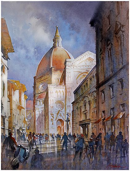 Duomo - Firenze by Thomas W Schaller Watercolor ~ 24 inches x 18 inches