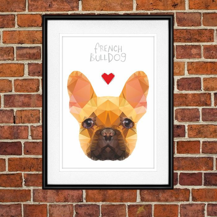 French Bulldog Digital Poster Print, Wall Decor, Geo Cubistic Sponge Cake by PSIAKREW on Etsy