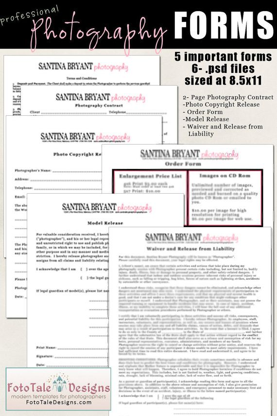 INSTANT DOWNLOAD- Professional Photography Forms- Contract, Model - general liability release