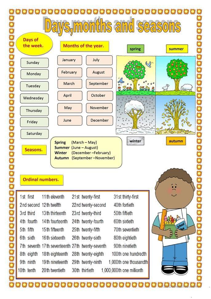 Days Months And Seasons Months And Seasons Months In English English Worksheets For Kindergarten Printableworksheets days of month