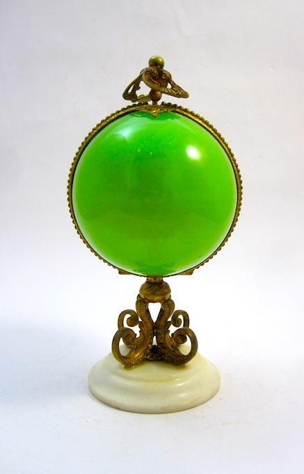 An Antique Palais Royal Green Opaline Glass Perfume Casket Box