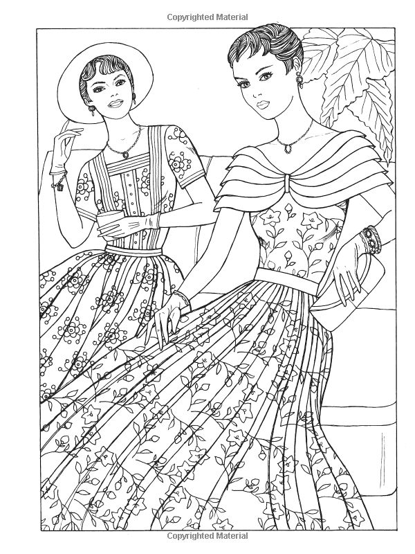 Vintage coloring pages 1950s ~ 642 best coloriages girly images on Pinterest | Coloring ...