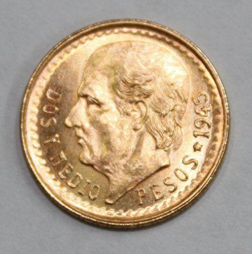 awesome 1945 MX Mexican Gold Coin 2 1/2 Pesos BU