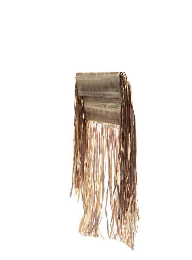 Sam Ubhi - Full Fringed Clutch Bag – Gold Snake with Gold Fringe
