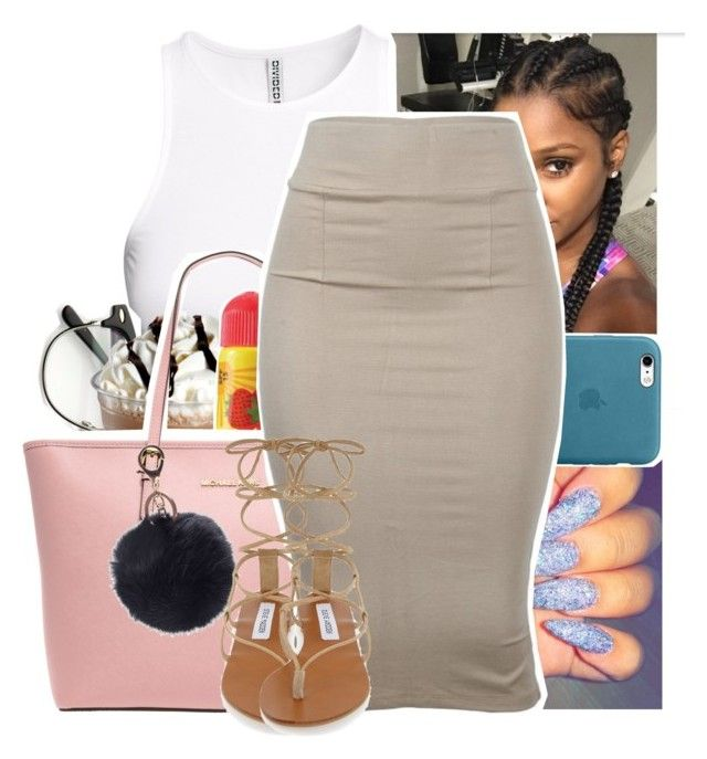 """""""A bought my bxtch a loui bag now she can brag now"""" by theyknowtyy ❤ liked on Polyvore featuring H&M, ZeroUV, By Emily, Carmex, MICHAEL Michael Kors and Steve Madden"""