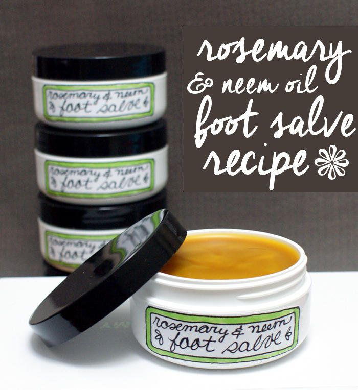 Treat your feet with this natural rosemary & neem oil foot salve recipe. It's great for dry, cracked feet and helps to prevent fungal growth and infections.