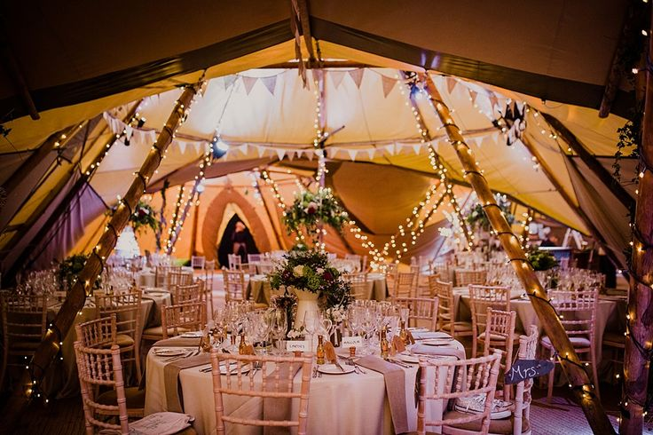 Wedding reception with glamorous details | Winter Wedding in a Tipi with Lace Fishtail Gown, Jenny Packham headpiece & Rachel Simpson shoes. Bridesmaids in Red dresses & fur stoles & Groomsmen in traditional tails via @rockmywedding by Lola Rose Photography