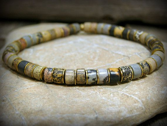 Bracelet for Men, Heishi Bracelet, Artistic Jasper Stone Bracelet, Mens Jewelry, Native  by StoneWearDesigns