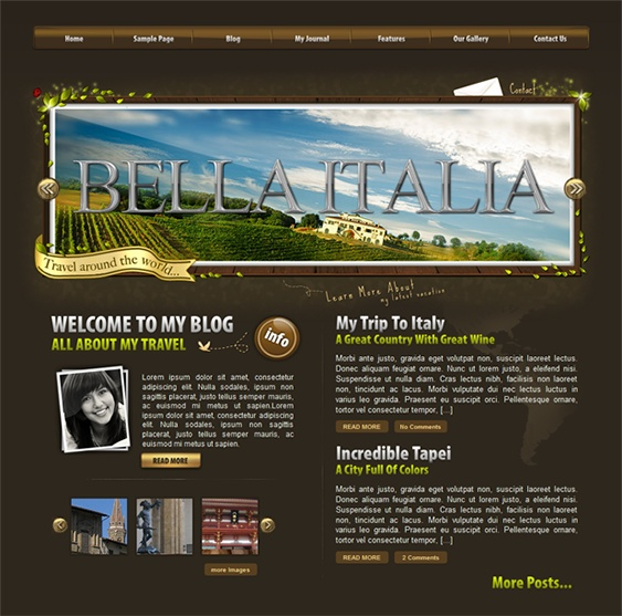 This WordPress travel theme comes with Twitter integration, jQuery navigation, Sweet Tooltips, a working contact page, video tutorials, a photo gallery, a premium jQuery image slider, and more.