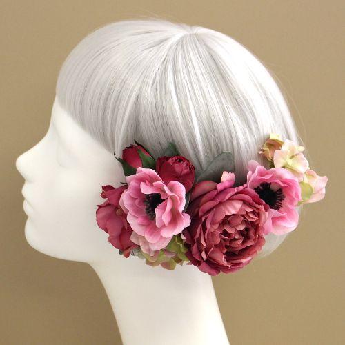 髪飾り・ヘッドドレス/アネモネとローズの髪飾り(モーヴピンク) - ウェディングヘッドドレス&花髪飾りairaka