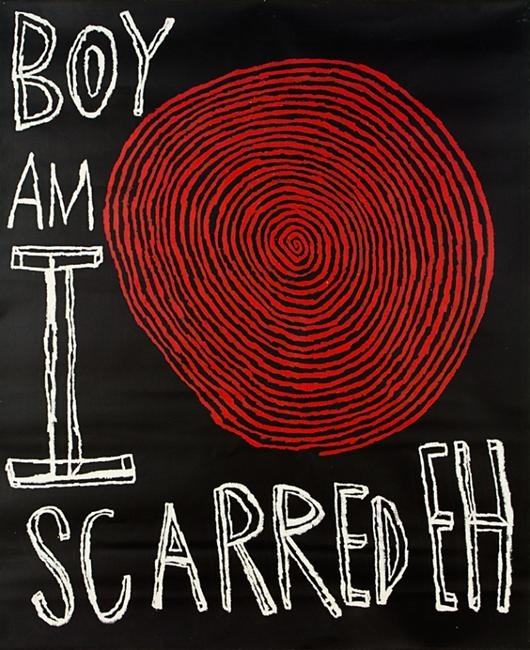 'Boy, and I scared Eh!' by Peter Robinson, acquired by Te Papa, Wellington, from The Les and Milly Paris Collection.