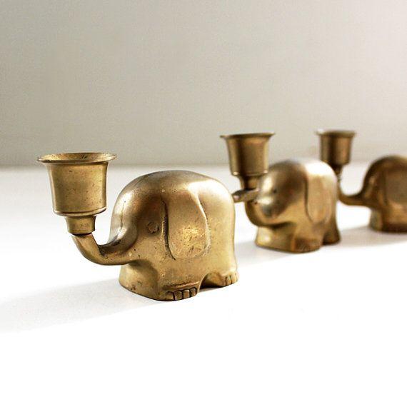 Vintage Brass Elephant Candleholders