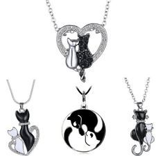 Women Black&White Cats Animal Heart Crystal Chain Leather Necklace Pendant