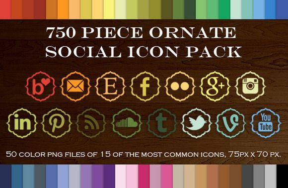 Check out 750 Piece Ornate Social Icon Pack by Purveyor of Geekery on Creative Market