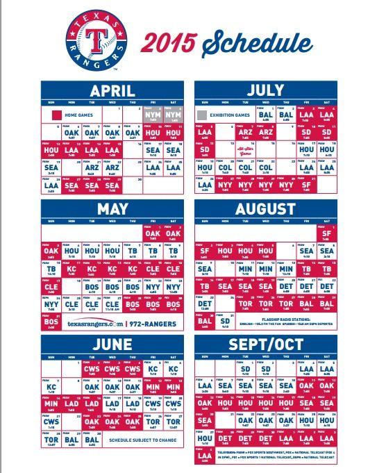 2015 Texas Rangers Schedule (Printable)