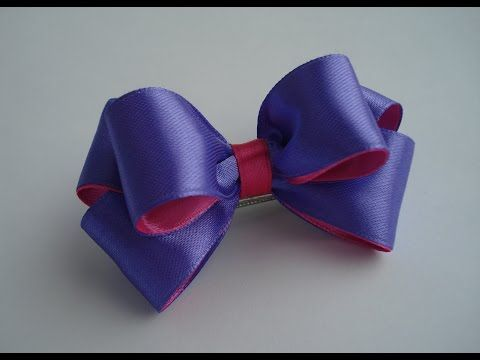 Украшение на заколку Канзаши / Фиолетово-розовый бантик - YouTube
