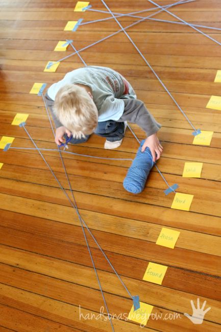 Connect matching pairs (of anything) with string - use for sight words, letters…
