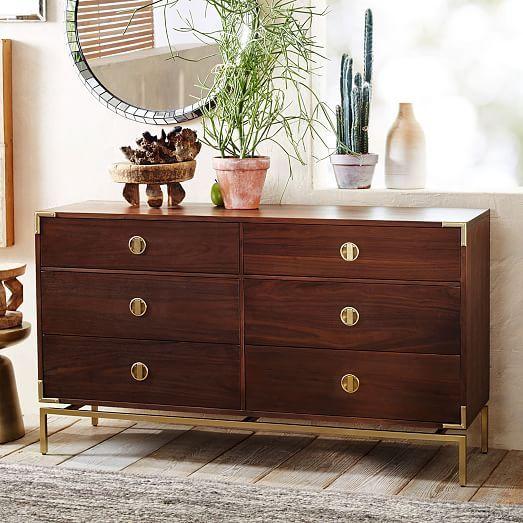 Big Walnut Apartments: Malone Campaign 6-Drawer Dresser - Walnut