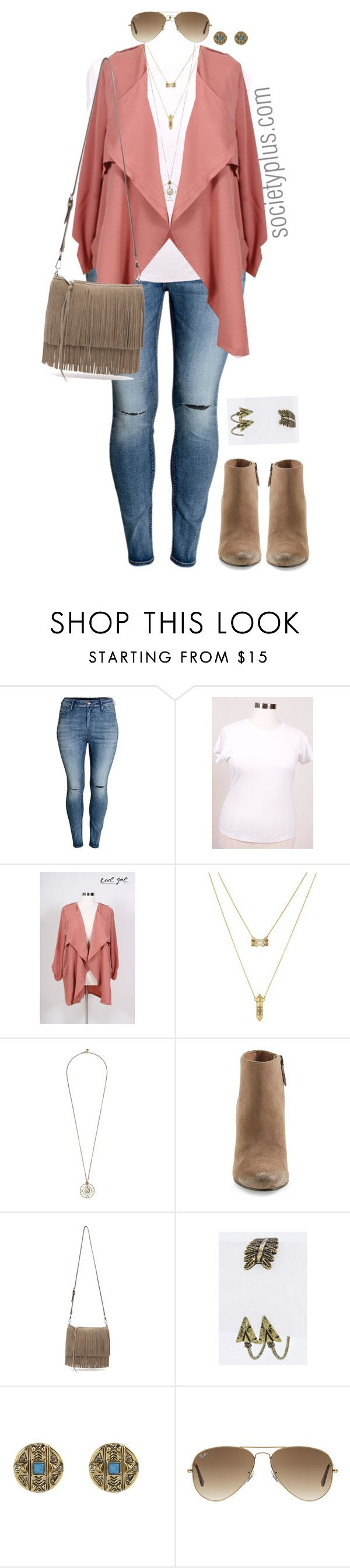 """""""Plus Size Blush Trench - Society+"""" by iamsocietyplus on Polyvore featuring H&M, House of Harlow 1960, Dolce Vita, Rebecca Minkoff, Ray-Ban, women's clothing, women, female, woman and misses"""