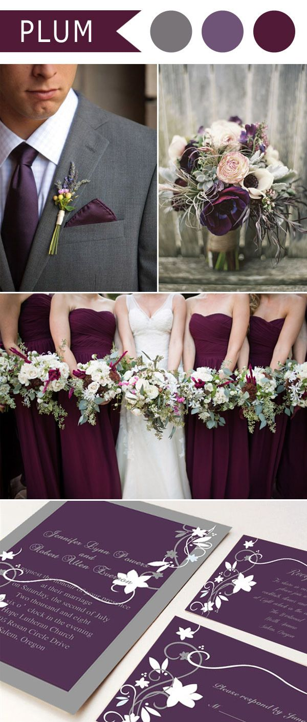 rustic plum purple and grey wedding color ideas and wedding invitations