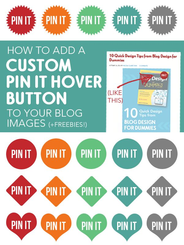 How to Add a Custom Pin It Hover Button to Your Blog Images (plus free buttons). It's so easy to do!
