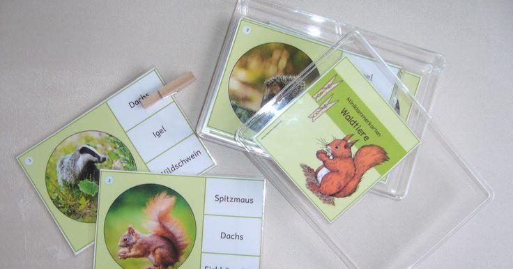 Miniklammerkarten mit Waldtieren     Für das Sachunterrichtsregal habe ich einen Schwung Miniklammerkarten  mit allerlei Waldbewohnern ers...