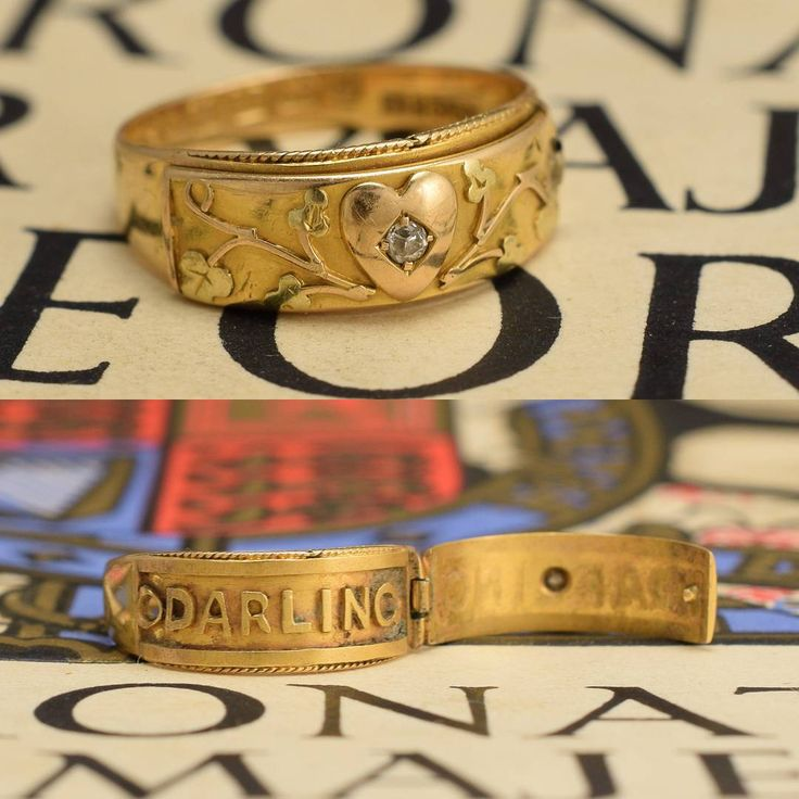 "440 Likes, 12 Comments - Butter Lane Antiques (@_butterlaneantiques) on Instagram: ""A gorgeous #Victorian band ring, with hinged front that opens to reveal the word DARLING. Very…"""