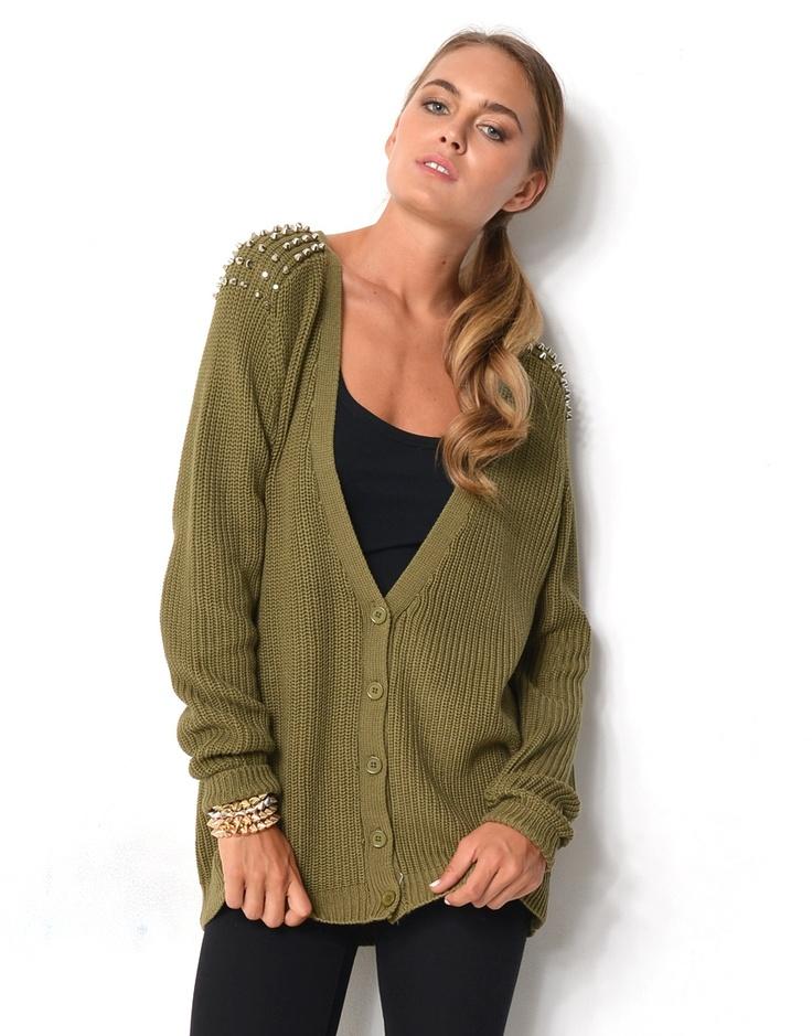 6320865 - Studded Shoulder Cardigan