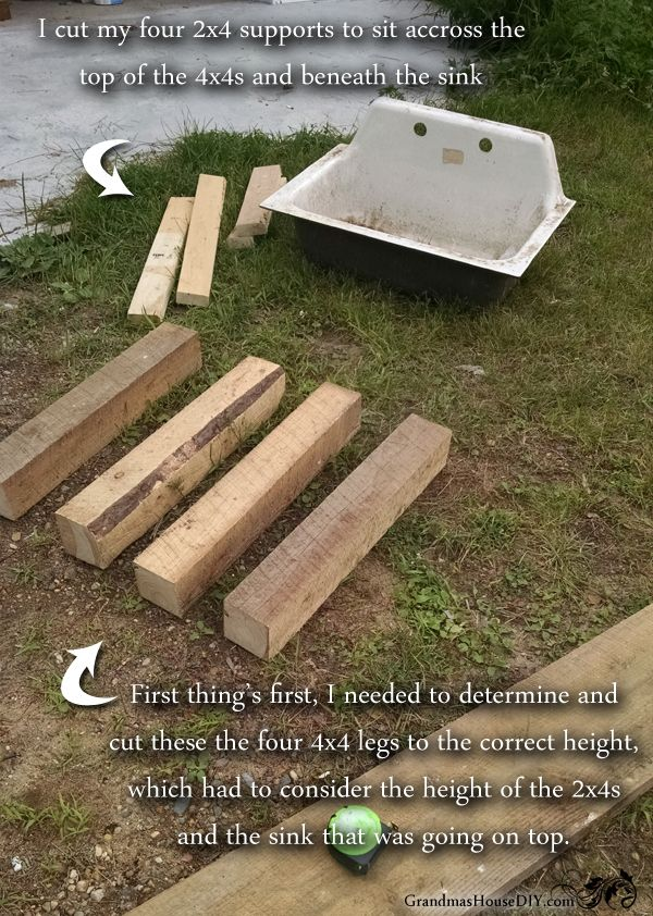 How to build a kitchen sink base out of 4x4s, 2x4s and old barn wood!