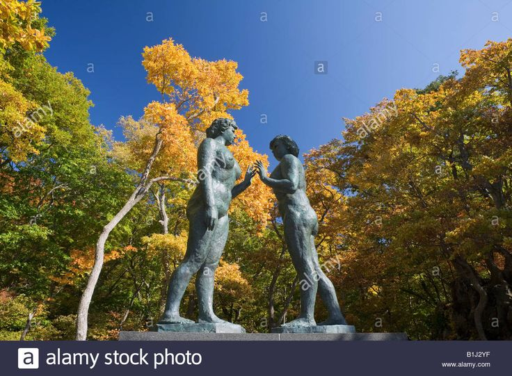 Statue Of Maiden, Red Leaves, Lake Towada, Lakes And Marshes Stock ...