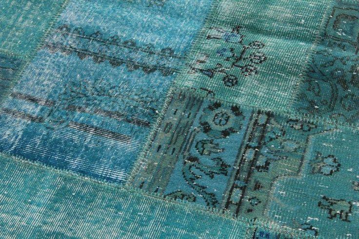 aqua blauw patchwork vloerkleed | Rozenkelim.nl - Groot assortiment kelim tapijten