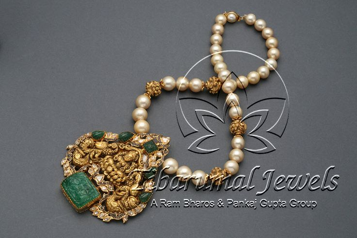 Studded With Flat Diamonds,Diamonds,Carved Emeralds & Strung In Pearls,Nakshi Balls.