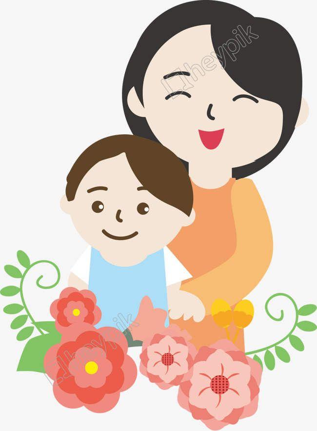Mother S Day Promotional Vector Mother Child Flower Mother Child Cartoon Image Png Vector Image Kartun Hari Ibu Gambar Kartun
