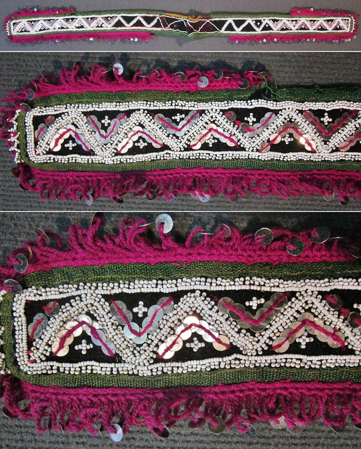 A traditional festive women's 'kemer' (belt) from the Pomak villages near Biga (Çanakkale prov.).  Mid-20th century.  Made of wool and felt, adorned with cotton embroidery, metal sequins, small glass beads and cotton crochet 'oya' (lace).  (Inv.nr. bon029  - Kavak Costume Collection - Antwerpen/Belgium).