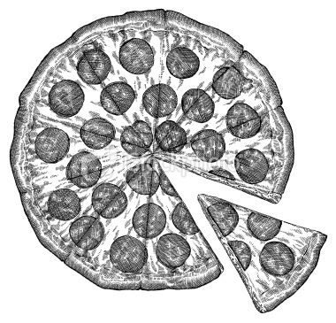 Pizza dessin aliment gravure image en noir et blanc - Dessin animaux noir et blanc ...